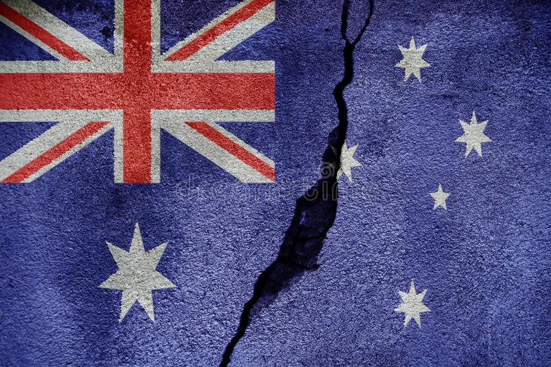 Australia FLAG PAINTED ON CRACKED WALL cool royalty free stock image