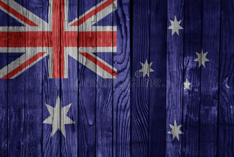Australia FLAG PAINTED ON WOOD cool vector illustration