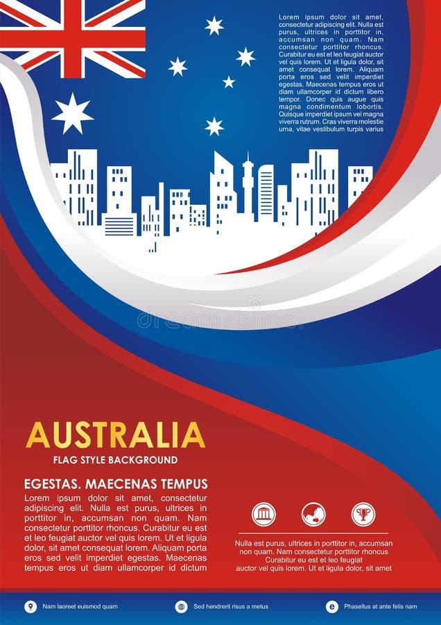 Australia flag style flyer, with stylish waving design royalty free illustration