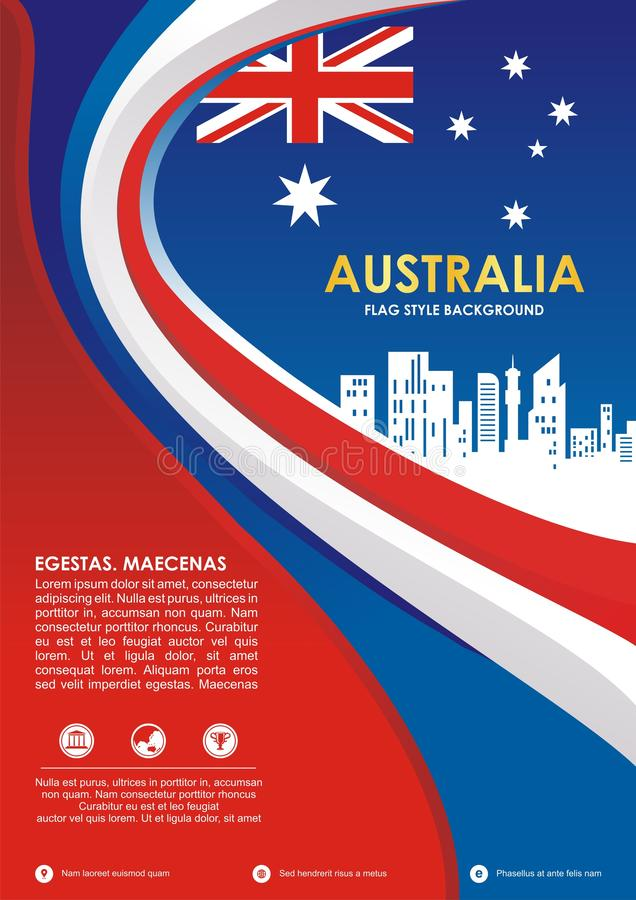 Australia flag style flyer, with stylish waving design stock illustration