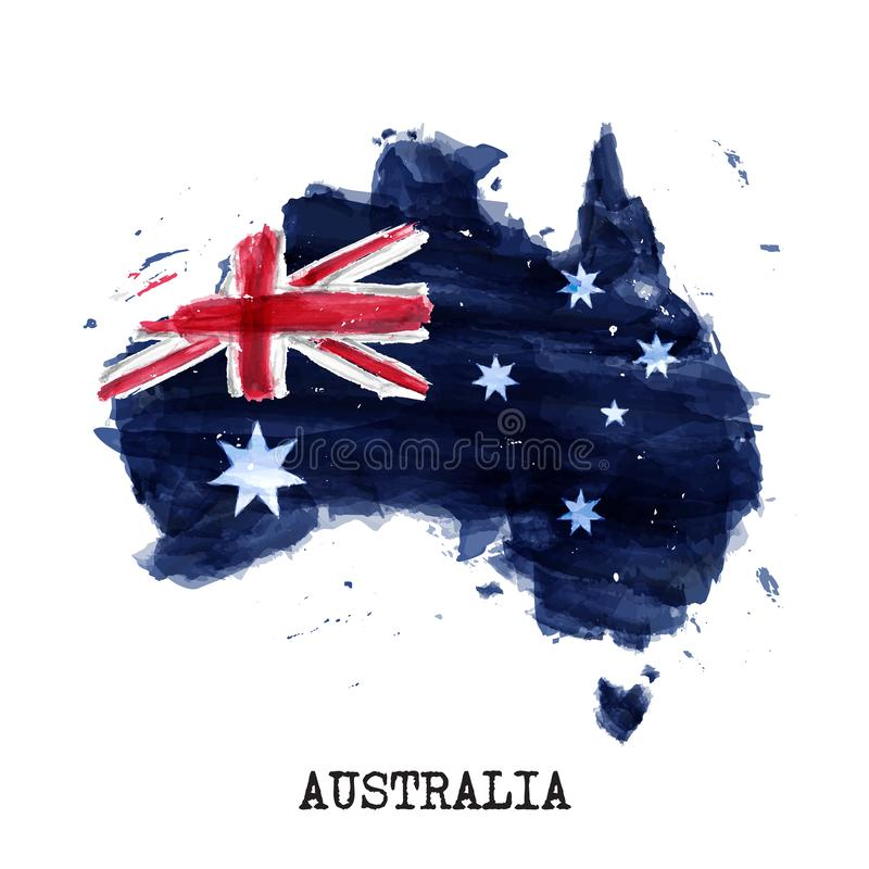 Australia flag watercolor painting design and country map shape with splatter color . isolated background . Vector vector illustration