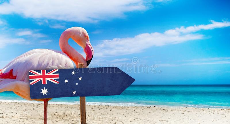Australia flag on wooden table sign on beach background with pink flamingo. There is beach and clear water of sea and blue sky in. The background. It is stock image