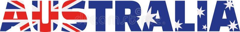 Australia flag word. Vector icon royalty free illustration