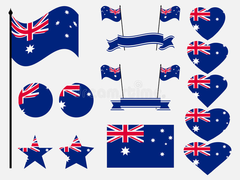 Australia flaga set Kolekcja symbole, flaga w sercu wektor ilustracji