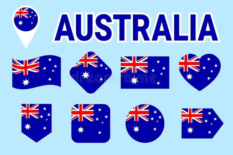 Australia flags set. Australian national flag vector collection. Flat isolated icons with state name. Traditional colors. illustra vector illustration