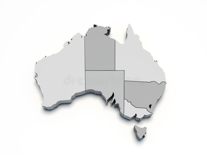 Australia Gray 3D Map On White Isolated Royalty Free Stock Images