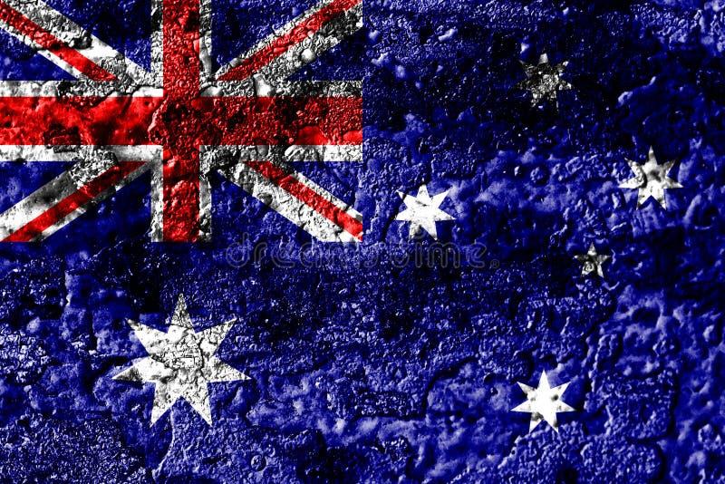Australia grunge rusted metal texture flag, rust metal background royalty free stock image