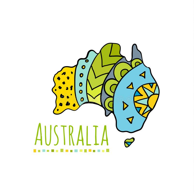 Australia hand-drawn continent. Doodle ethnic motifs on a map of Australia. Vector. Doodle Map of Australia. Colorful banner with hand-drawn Australian stock illustration