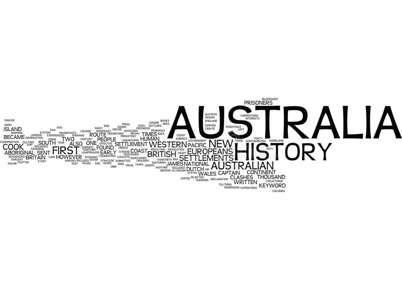 Australia History Word Cloud Concept stock images