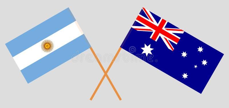 Australia i Argentyna Australijskie i Argentinean flagi Oficjalni kolory Poprawna proporcja wektor ilustracji