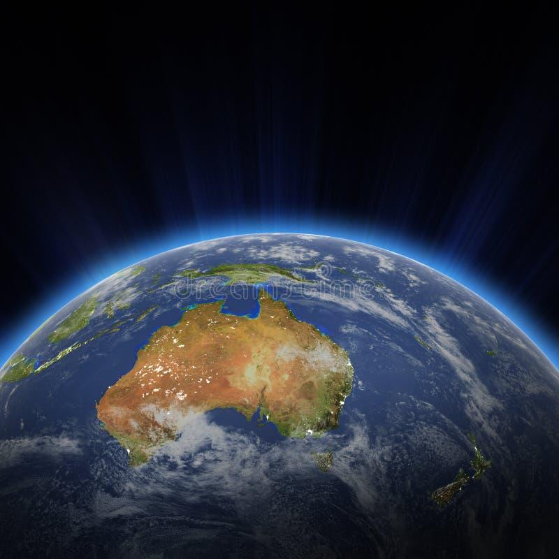 Australia i Nowy Zeland miasto zaświecamy przy nocą royalty ilustracja