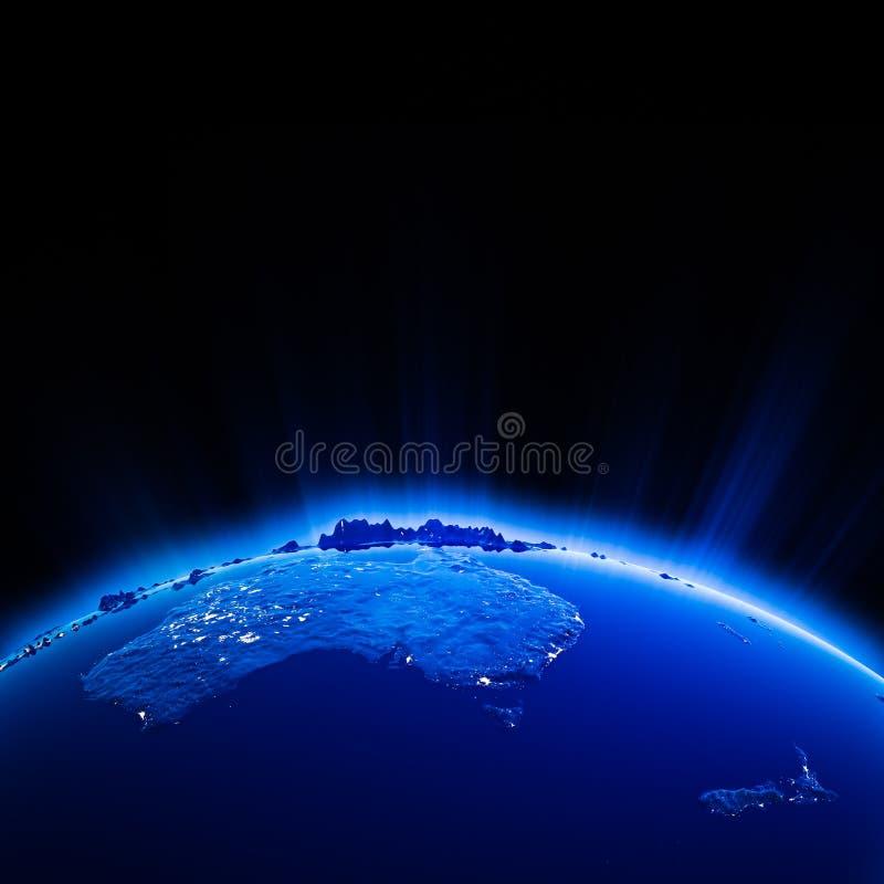 Australia i Nowy Zeland miasto zaświecamy przy nocą ilustracji