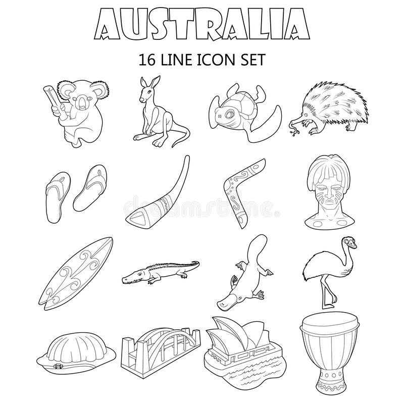 Australia icons set, outline style stock illustration
