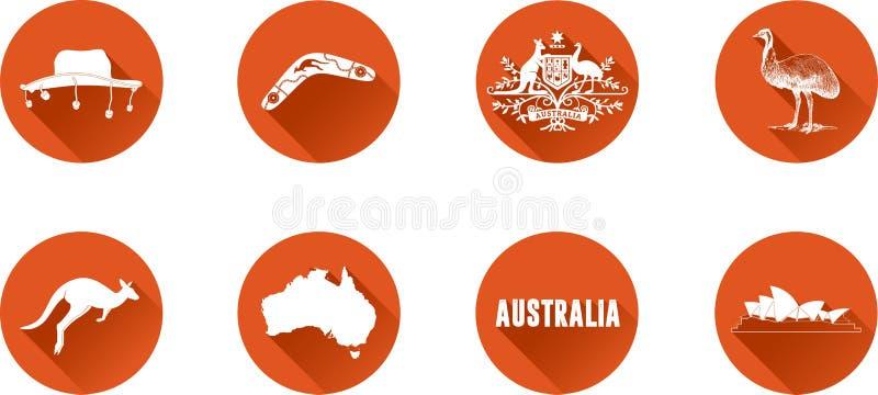 Australia ikony Płaski set ilustracji