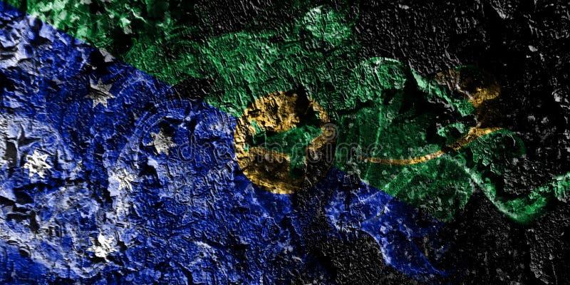 Australia - Isla de Navidad - bandera mística ahumada de Australia en el viejo fondo sucio de la pared stock de ilustración