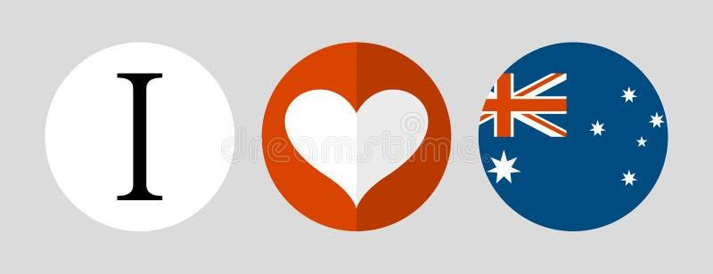 australia ja kocham Flaga i serce royalty ilustracja