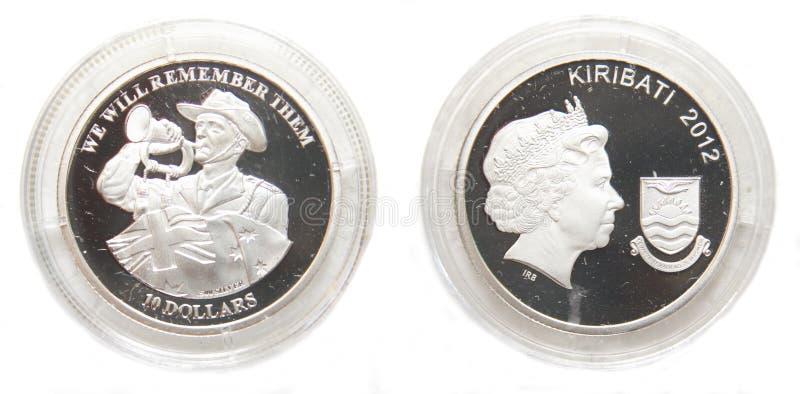 Australia and Kiribati 10 Dollars Silver coin stock photography