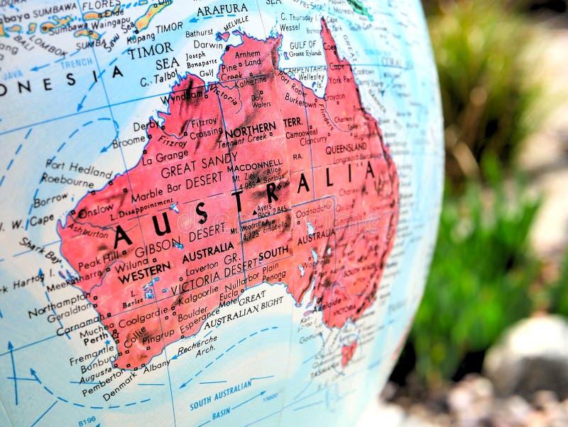 Australia kontynentu ostrości makro- strzał na kuli ziemskiej mapie dla podróż blogów, ogólnospołecznych środków, strona internet obraz stock