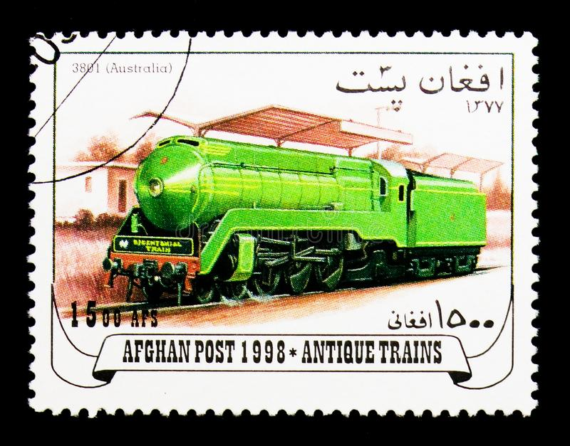 3801 (Australia), Locomotives serie, circa 1998. MOSCOW, RUSSIA - DECEMBER 21, 2017: A stamp printed in Afghanistan shows 3801 (Australia), Locomotives serie stock photos