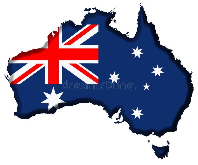 Australia Map. Australia Covered in Australian Flag