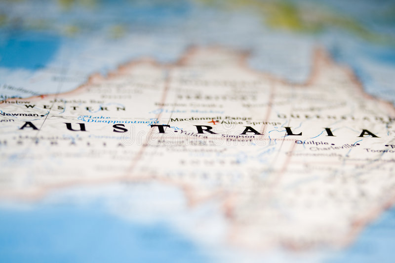 Australia Map. Close up of Australia position in a map