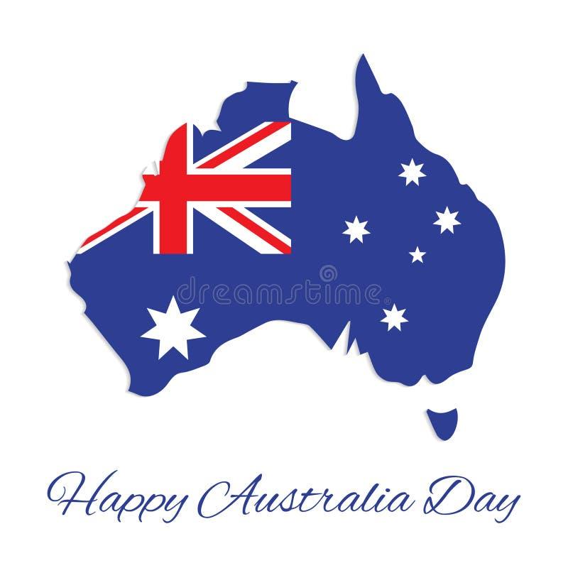 Australia map for Australia Day. 26 january Happy Australia Day. Vector Illustration stock illustration
