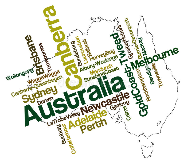 Australia map and cities. Australia map and words cloud with larger cities