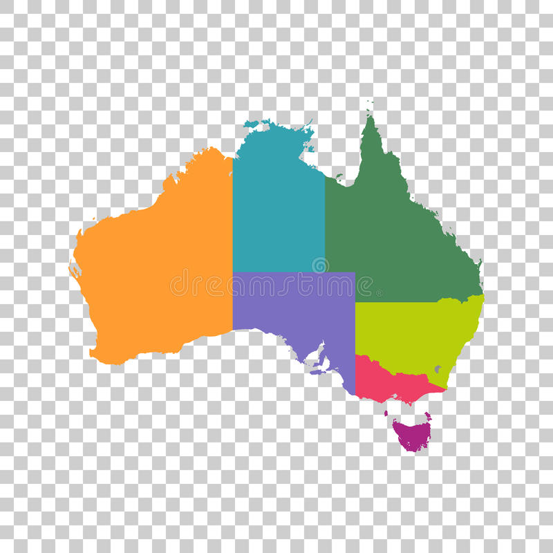australia map color with regions vector flat simple pictogram