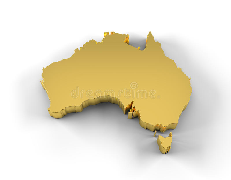Australia map 3D gold with clipping path
