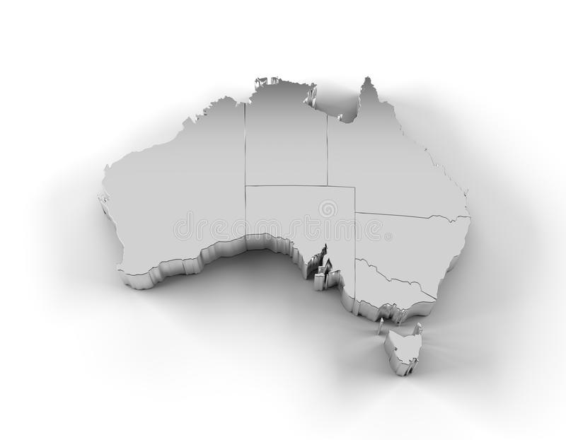 Download Australia Map 3D Silver With States And Clipping Path Stock Illustration - Image: 35639235