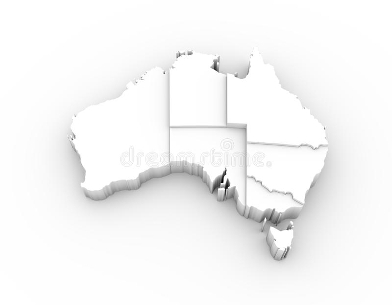Australia map 3D white with states stepwise and clipping path royalty free illustration