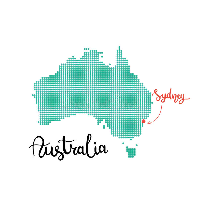 Australia map dotted. Sydney capital of australia royalty free stock photos