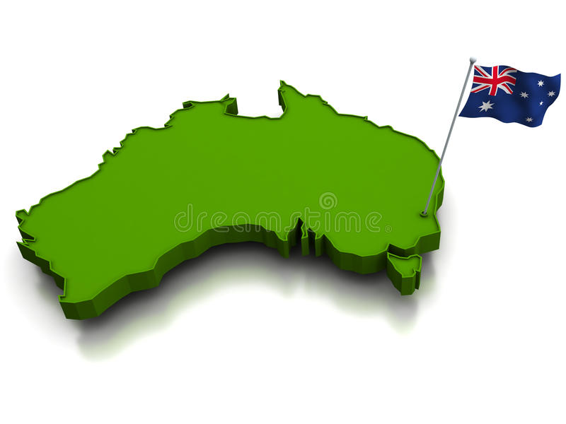 Australia - Map And Flag Royalty Free Stock Image