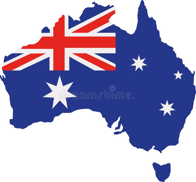 Australia map with flag vector illustration
