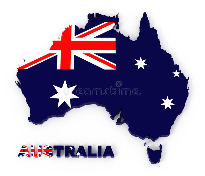 Australia, map with flag, with clipping path stock illustration