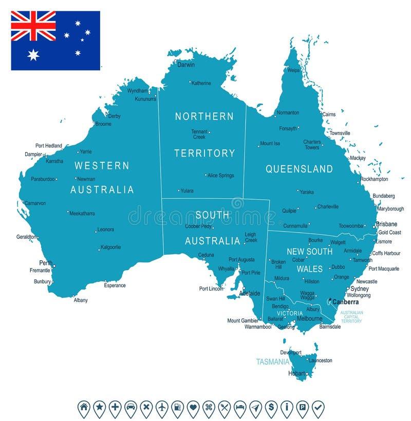 Australia Map And Flag Illustration Stock Illustration