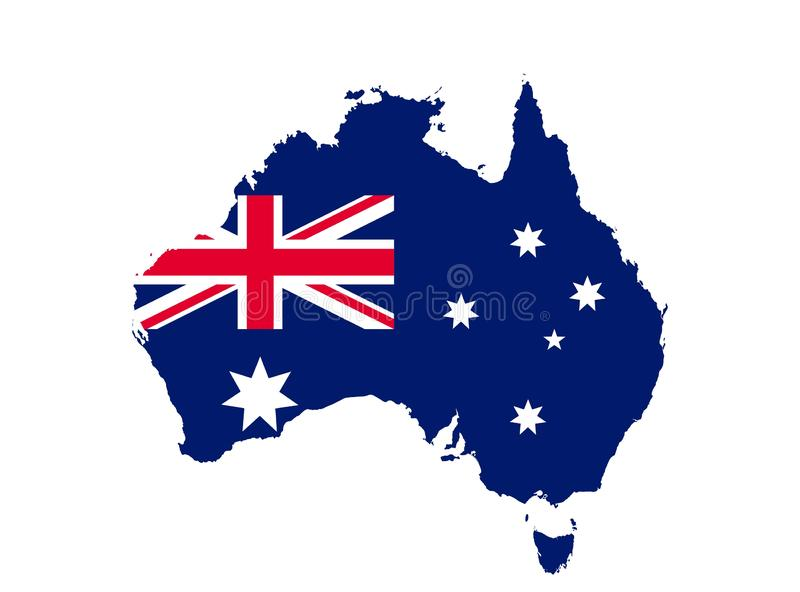 Australia map icon with flag. concept national symbol vector image royalty free illustration