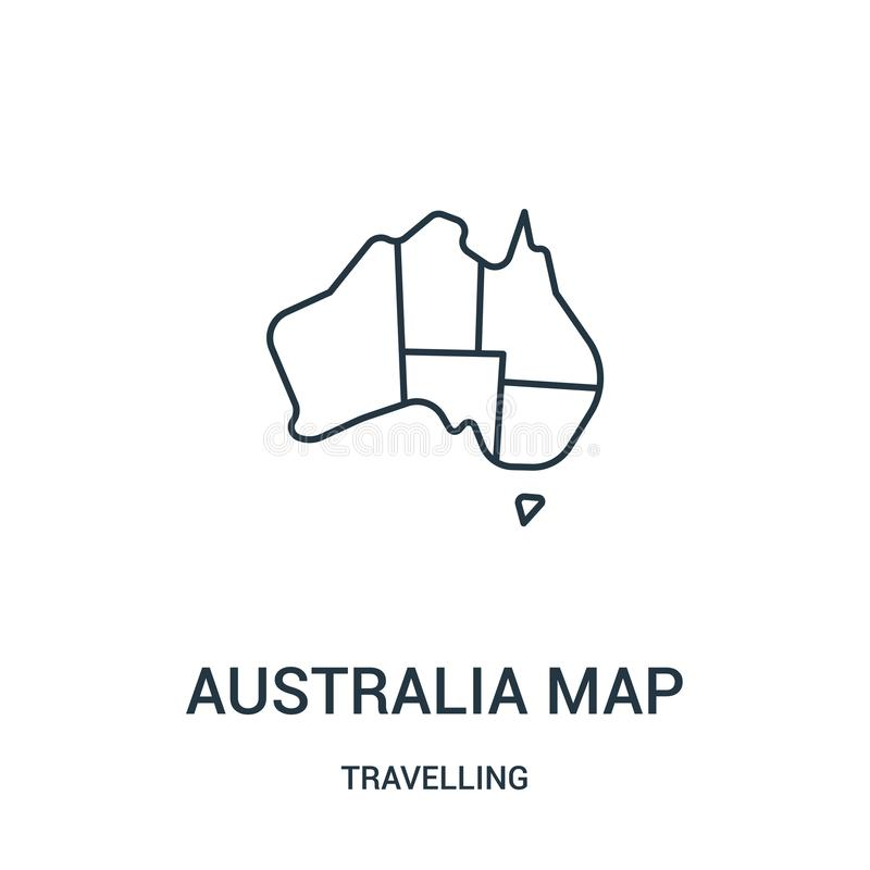 australia map icon vector from travelling collection. Thin line australia map outline icon vector illustration. Linear symbol vector illustration