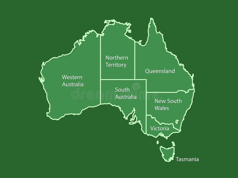 Australia map land area vector with state names on green background vector illustration