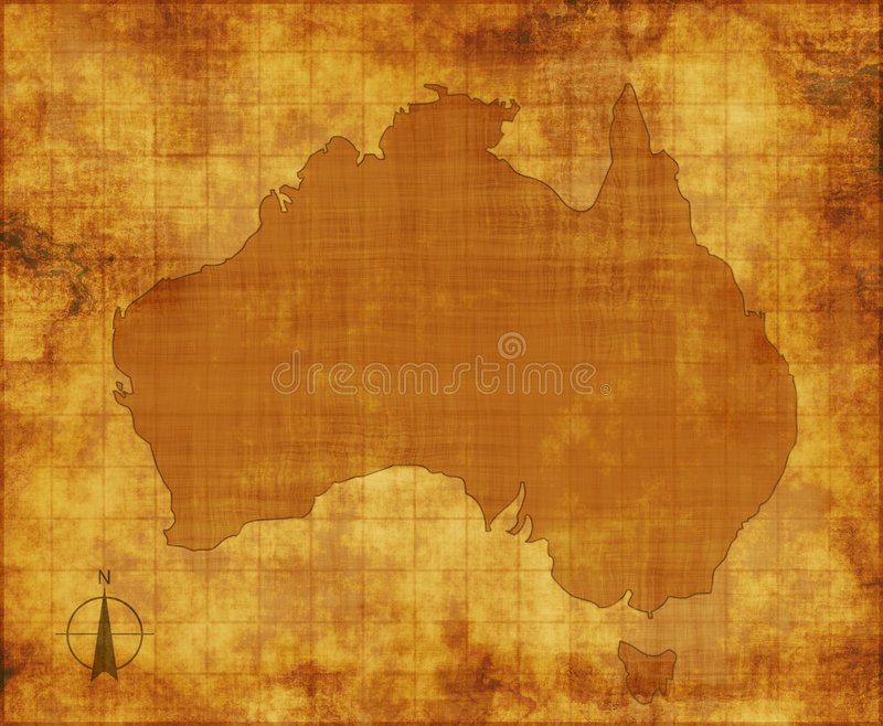 Australia map on parchment royalty free stock photo