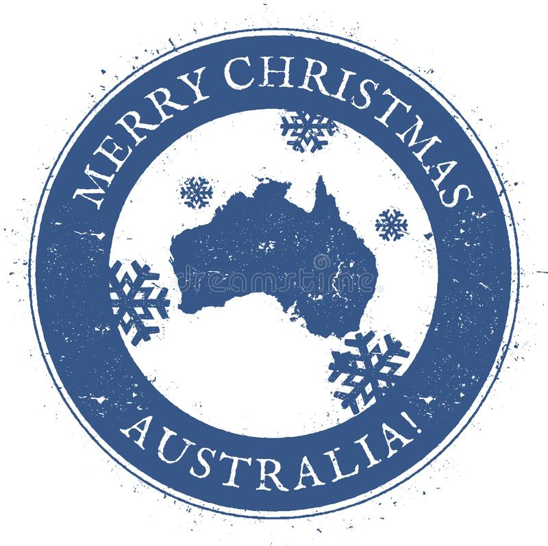 Australia map. Vintage Merry Christmas Australia. royalty free illustration