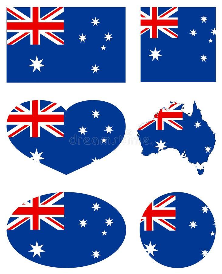 Australia mapa i flaga - kraj Australijski kontynent ilustracja wektor