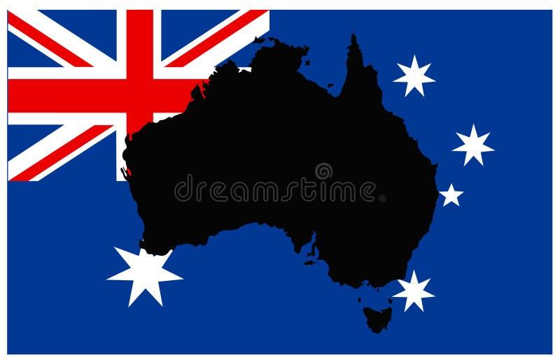 Australia mapa i flaga - kraj Australijski kontynent ilustracji