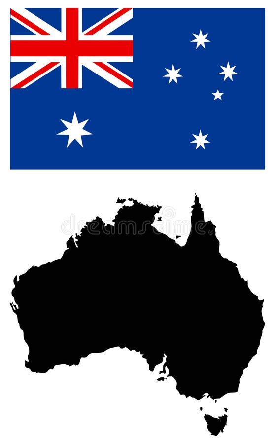 Australia mapa i flaga - kraj Australijski kontynent royalty ilustracja