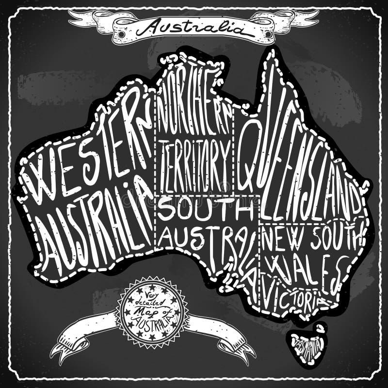 Australia mapa na rocznika Ręcznie pisany BlackBoard royalty ilustracja