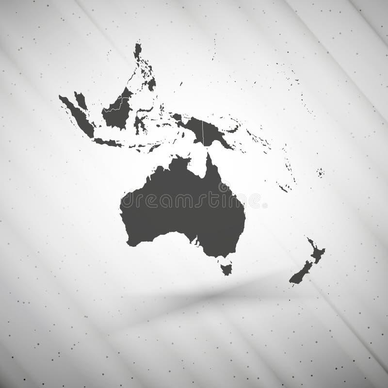 Australia mapa na szarym tle, grunge tekstura royalty ilustracja