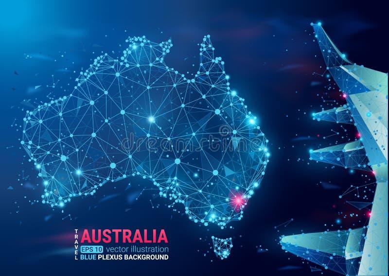 australia mapa Spławowego błękitnego plexus geometryczny tło abstrakcjonistyczna wektorowa ilustracja Zaawansowany technicznie, k royalty ilustracja