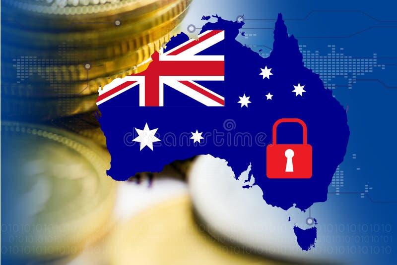 Australia mapa z ochrona symbolem i moneta na technologii tle: ochrony gospodarki technologii pojęcie obraz royalty free
