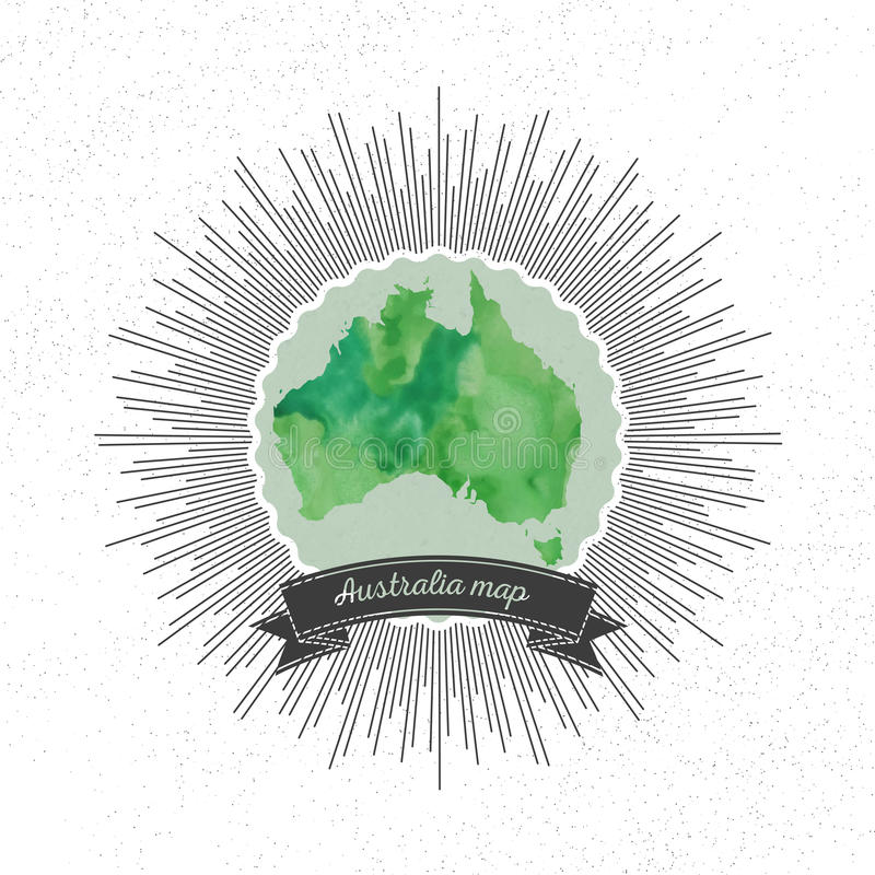 Australia mapa z rocznika stylu gwiazdy wybuchem, zieleń ilustracji
