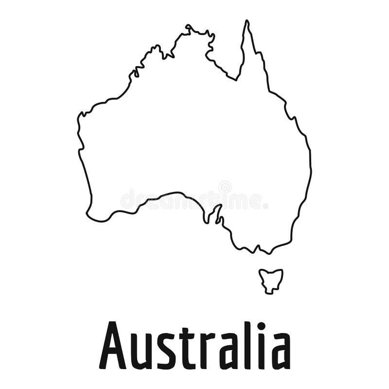 Australia mapy cienki kreskowy wektorowy prosty ilustracji